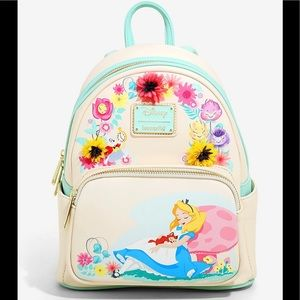 SOLD LOUNGEFLY ALICE IN FLOWERS GARDEN BACKPACK